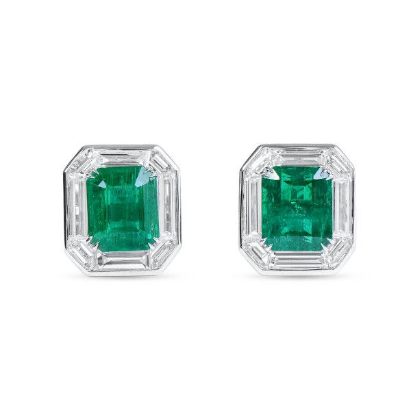 Natural Vivid Green Emerald Earrings, 1.84 Ct. (3.15 Ct. TW)