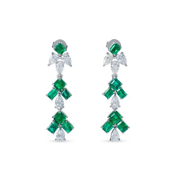 Natural Vivid Green Emerald Earrings, 3.24 Ct. (5.14 Ct. TW)