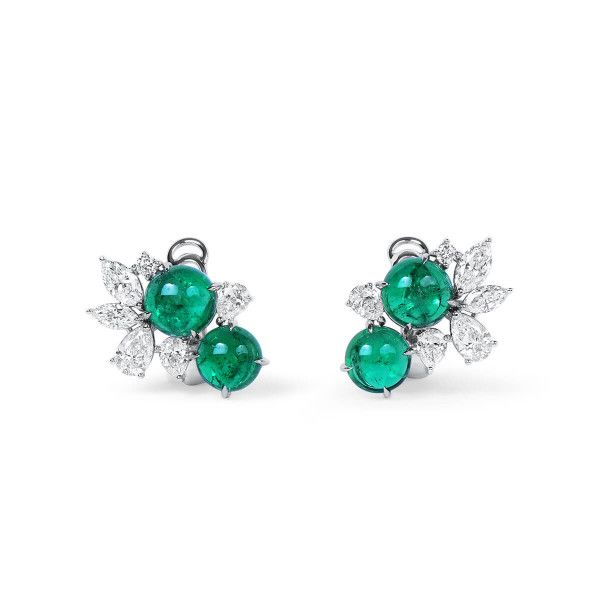 Natural Green Colombia Emerald Earrings, 4.20 Ct. (5.79 Ct. TW), GRS Certified, GRS2021-018147-1