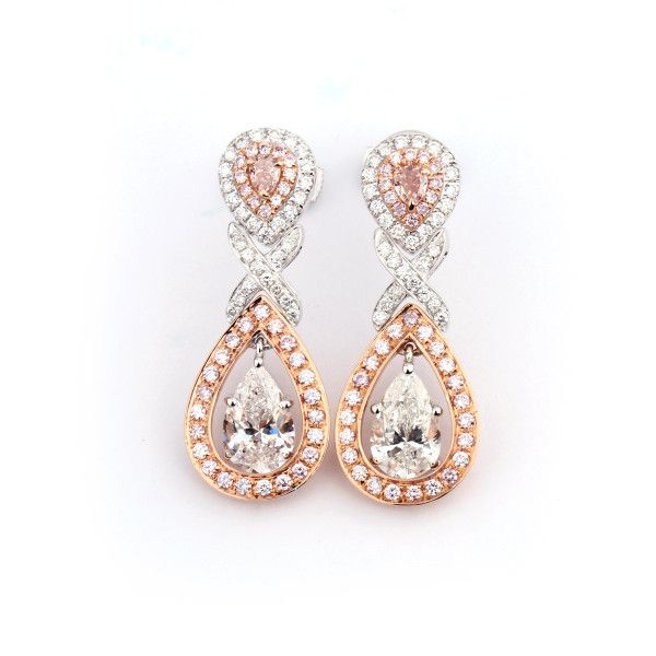 White and pink Pear Diamond Drop Earrings,2.76 ct, F, SI1