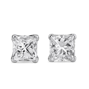 White Diamond Earrings, 0.97 Ct. TW, Princess shape, EG_Lab Certified, J5826070634