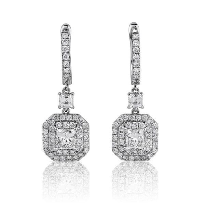 White Diamond Earrings, 1.31 Ct. (2.15 Ct. TW), Princess shape