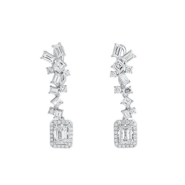 White Diamond Earrings, 2.02 Ct. (5.30 Ct. TW), Emerald shape, GIA Certified, JCEW05433613