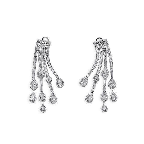 White Diamond Earrings, 4.28 Ct. (10.30 Ct. TW), Pear shape