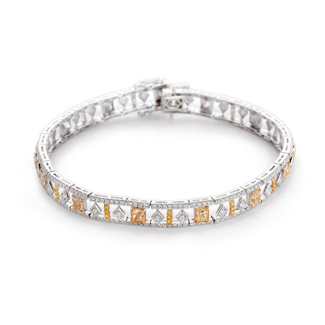 Fancy Yellow Diamond Bracelet, 4.96 Ct. TW, Cushion shape, EG_Lab Certified, J5826064637