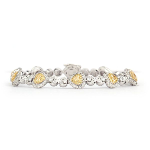 Fancy Yellow heart design Diamond Bracelet,1.14 ct