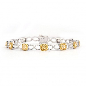 Fancy Yellow Diamond Bracelet, 3.29 Ct. (5.90 Ct. TW), Cushion shape, EG_Lab Certified, J6026102623