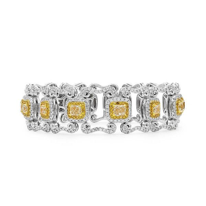 Fancy Yellow Diamond Bracelet, 6.21 Ct. (10.52 Ct. TW), Cushion shape