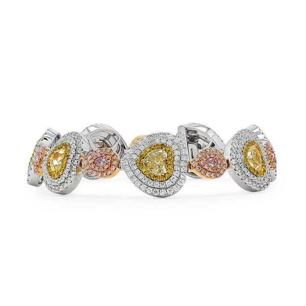 Fancy Yellow Diamond Bracelet, 6.27 Ct. (13.20 Ct. TW), Heart shape
