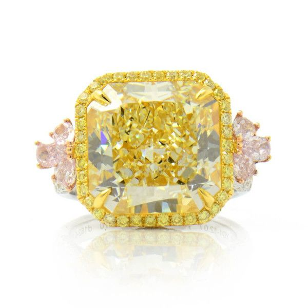 outstanding Fancy Light Yellow Radiant Diamond halo, 12.77 ct, VS2, GIA