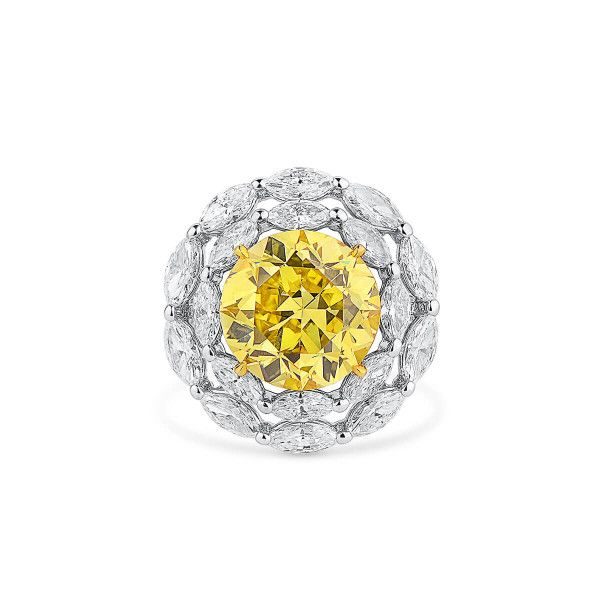 Fancy Vivid Yellow Diamond Ring, 7.31 Ct. (11.14 Ct. TW), Round shape, GIA Certified, 2201195951