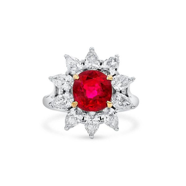Natural Vivid Red Ruby Ring, 3.14 Ct. (4.75 Ct. TW), SJJOK Certified, Unheated