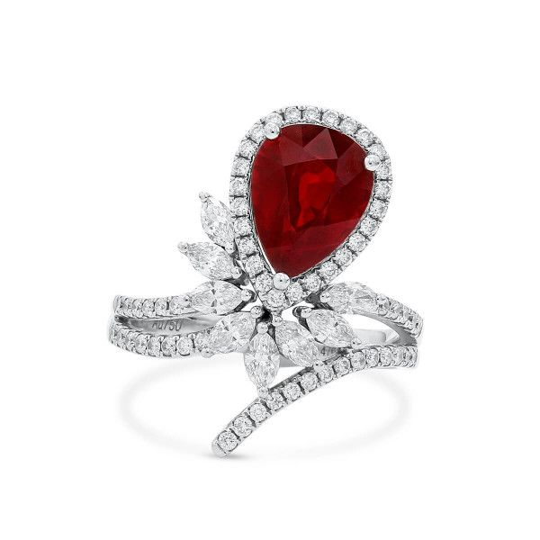 Natural Vivid Red Ruby Ring, 3.02 Ct. (3.84 Ct. TW), GRS Certified, JCMRG05511453, Unheated