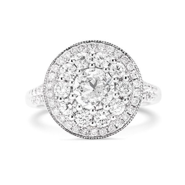 CLUSTER HALO SPLIT SHANK DIAMOND RING, 1.00 ct, G, VS2, GIA