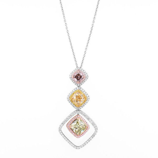 Light Yellow (Y-Z) Diamond Necklace, 7.23 Ct. TW, Cushion shape, GIA Certified, JCNF05367774