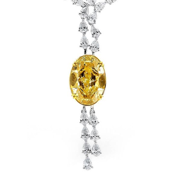 Light Yellow (Y-Z) Diamond Necklace, 13.02 Ct. (26.76 Ct. TW), Oval shape, GIA Certified, 6197482449