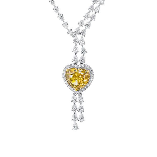 Fancy Brownish Yellow Diamond Necklace, 10.03 Ct. (24.32 Ct. TW), Heart shape, GIA Certified, 7326474337