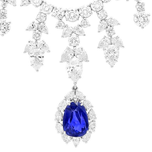 Natural Blue Sri-Lanka Sapphire Necklace, 5.01 Ct. (39.46 Ct. TW), GRS Certified, GRS2016-077058, Unheated