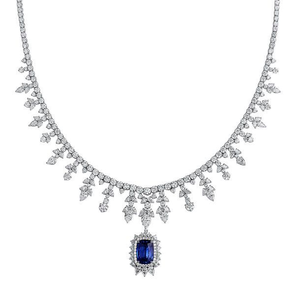 Natural Blue Sapphire Necklace, 9.53 Ct. (45.15 Ct. TW), GRS Certified, GRS2018-050475, Unheated