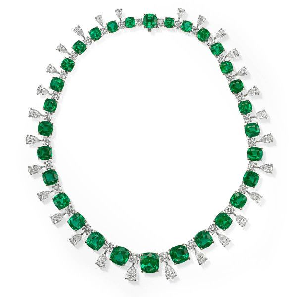 Natural Green Zambia Emerald Necklace, 88.75 Ct. (120.31 Ct. TW), GRS Certified, JCNG05460494