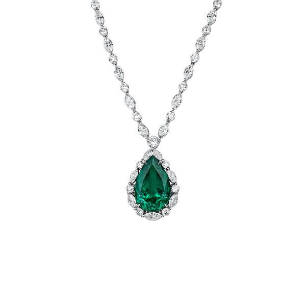 Natural Vivid Green Colombia Emerald Necklace, 18.12 Ct. (35.72 Ct. TW), GRS Certified, GRS2019-078840