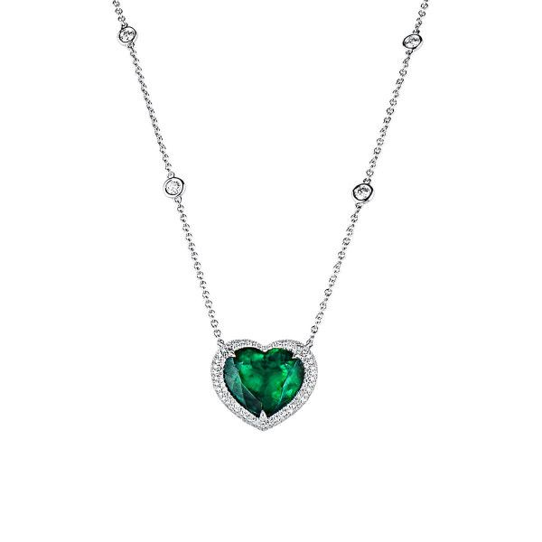 Natural Vivid Green Emerald Necklace, 8.09 Ct. (10.24 Ct. TW), GRS Certified, GRS2019-078841, Unheated