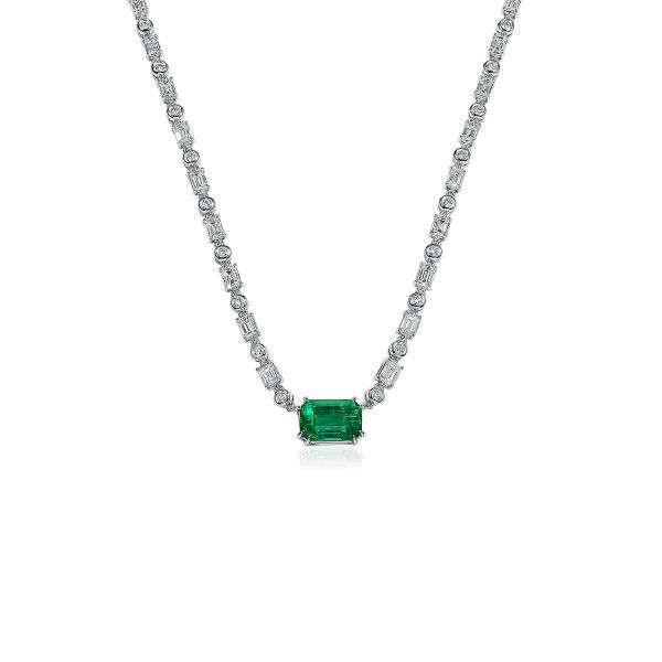 Natural Green Emerald Necklace, 3.17 Ct. (9.50 Ct. TW)