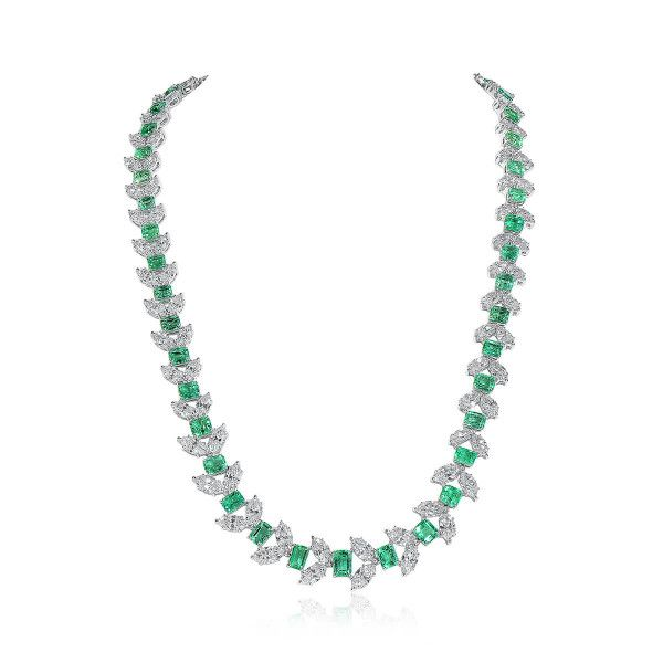 Natural Vivid Green Emerald Necklace, 20.59 Ct. (46.72 Ct. TW), GIA Certified, JCNG05506728