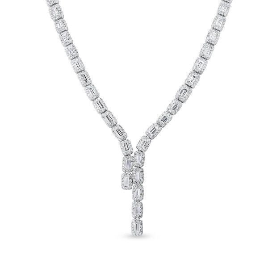 White Diamond Necklace, 11.61 Ct. (17.12 Ct. TW), Baguette shape