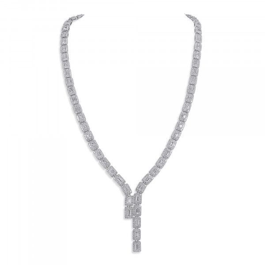White Diamond Necklace, 13.55 Ct. (20.56 Ct. TW), Emerald shape