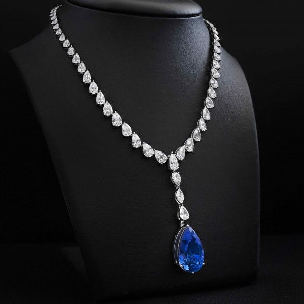 Natural Royal Blue Sapphire Necklace, 36.51 Ct. (74.80 Ct. TW), GRS + GIA Certified