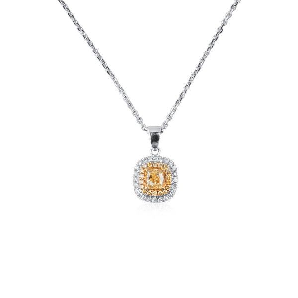 Fancy Yellow Diamond Necklace, 0.46 Ct. (0.71 Ct. TW), Radiant shape
