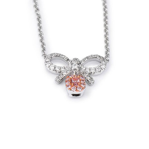 Fancy Pink Diamond Necklace, 0.07 Ct. (0.26 Ct. TW), Cushion shape, EG_Lab Certified, J5926219337