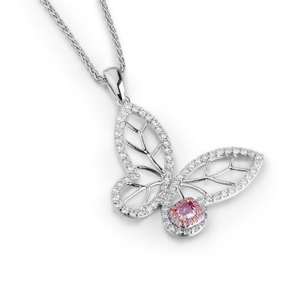 Fancy Brownish Purple Pink Diamond Necklace, 0.22 Ct. (0.95 Ct. TW), Cushion shape, GIA Certified, 6183341773