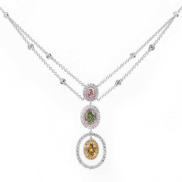 Rainbow Colored Diamond Necklace, 3.57 Ct. TW, Oval shape, GIA Certified, JCPF05350031