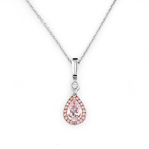 Very Light Pink Diamond Necklace, 0.70 Ct. TW, Pear shape, GIA Certified, 2195029005