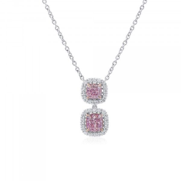 Light Pink Diamond Necklace, 1.35 Ct. (1.65 Ct. TW), Cushion shape, GIA Certified, JCPF05511376