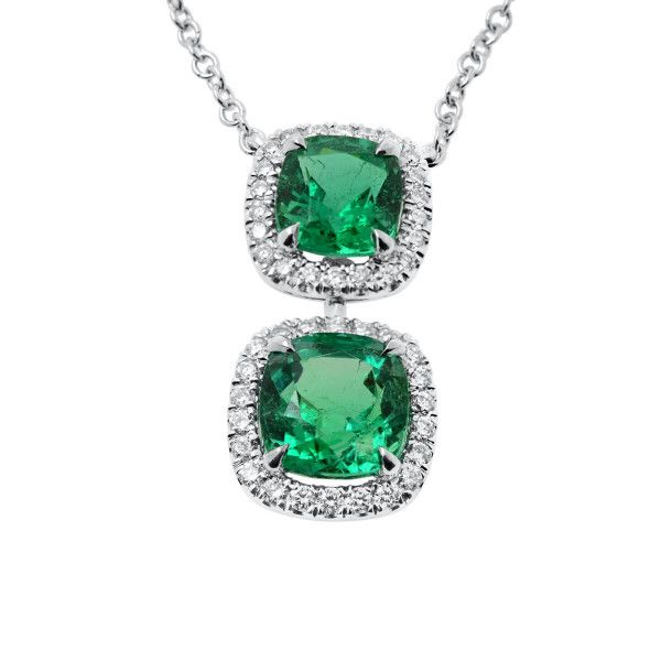 Natural Green Emerald Necklace, 2.38 Ct. (2.65 Ct. TW), IGL Certified, J37907813IL, Unheated