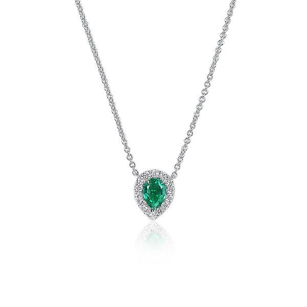 Natural Green Emerald Necklace, 0.39 Ct. (0.54 Ct. TW)