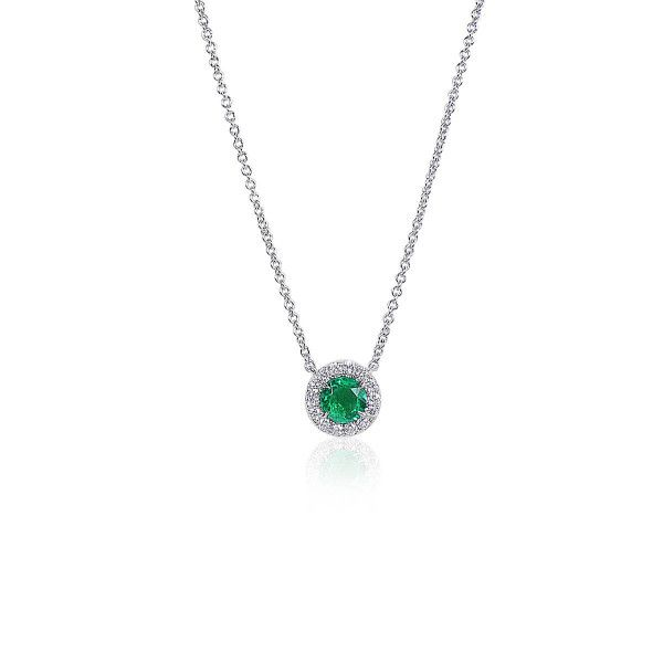 Natural Green Emerald Necklace, 0.34 Ct. (0.46 Ct. TW)