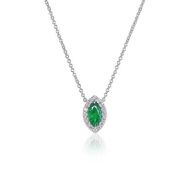 Natural Green Emerald Necklace, 0.54 Ct. (0.70 Ct. TW)