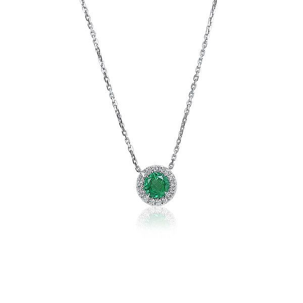 Natural Green Emerald Necklace, 1.02 Ct. (1.22 Ct. TW)