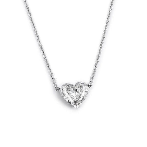 White Diamond Necklace, 0.70 Carat, Heart shape