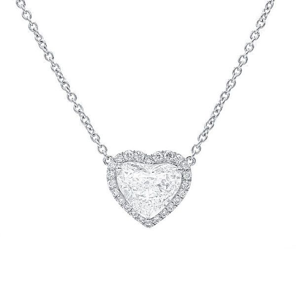 White Diamond Necklace, 2.01 Ct. (2.19 Ct. TW), Heart shape, GIA Certified, 6282942538