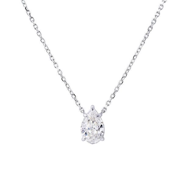 White Diamond Necklace, 1.01 Carat, Pear shape, GIA Certified, 7281534151