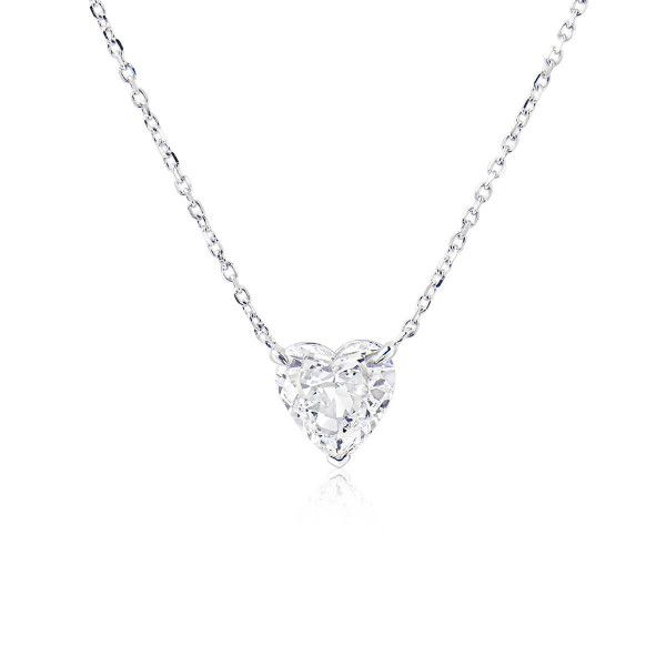 White Diamond Necklace, 1.55 Carat, Heart shape, GIA Certified, 7311768193