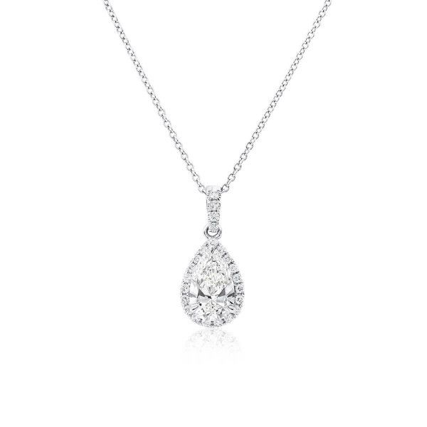 White Diamond Necklace, 1.01 Ct. (1.21 Ct. TW), Pear shape, GIA Certified, 6322757226