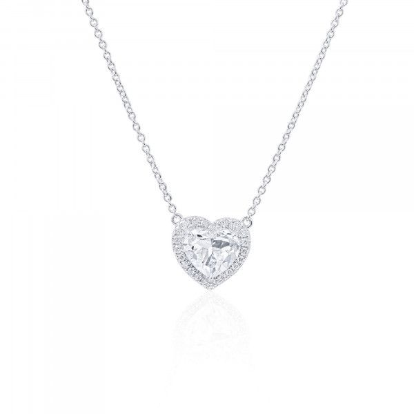 White Diamond Necklace, 2.00 Ct. (2.19 Ct. TW), Heart shape, GIA Certified, 2277487019