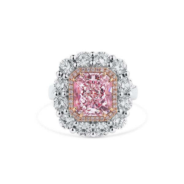 Very Light Pink Diamond Ring, 4.20 Ct. (6.71 Ct. TW), Radiant shape, GIA Certified, 2205652558