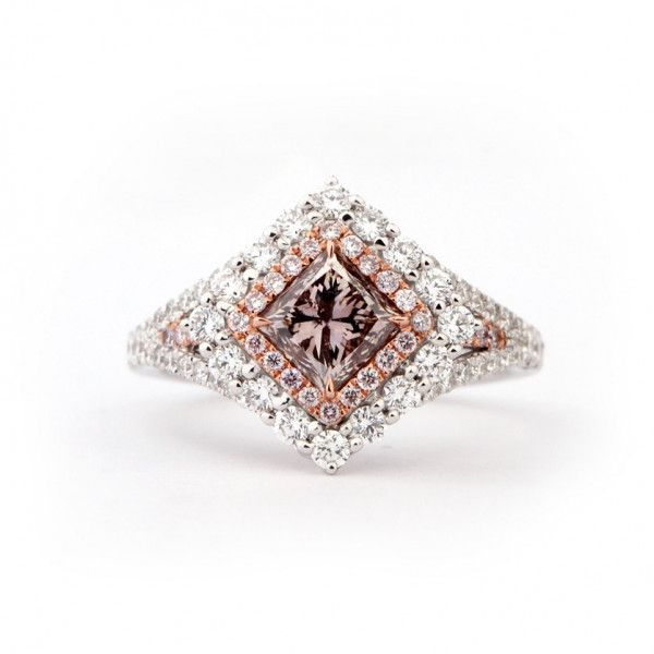 Fancy Brownish Pink Diamond Ring, 1.99 Ct. TW, Princess shape, GIA Certified, 1179366210